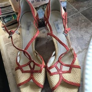 PRADA Basket Weave Wedge Strappy Shoes